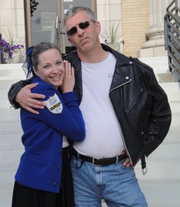 "My wife and I before going to see ""Grease"" at The Historic Artcraft Theatre in Franklin, Indiana."