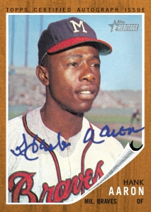 Hank Aaron's 1962 Topps baseball card.