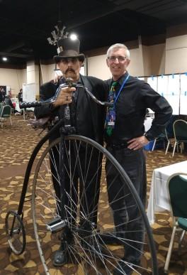 My author friend, Daniel Dark, and his big, old bike. (Kimberly Hoffman photo)