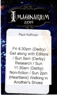 The back of my credentials, telling me when, and where to be for my panels.